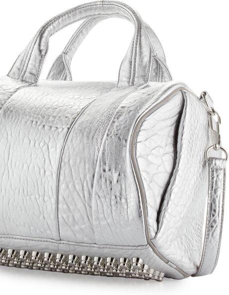 alexander wang rocco studbottom satchel bag silver in. Black Bedroom Furniture Sets. Home Design Ideas