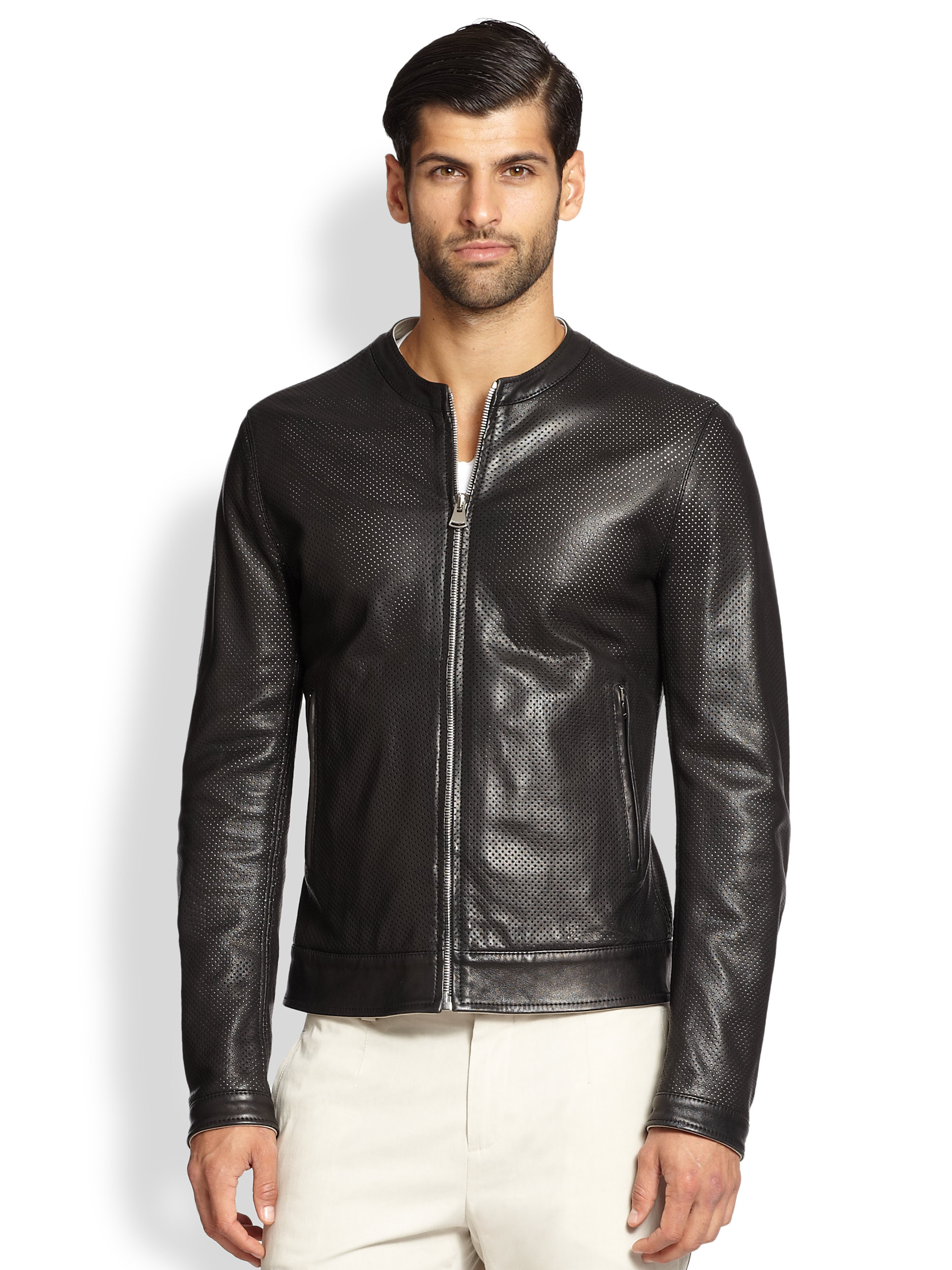dolce gabbana perforated nappa leather jacket in black for men lyst. Black Bedroom Furniture Sets. Home Design Ideas