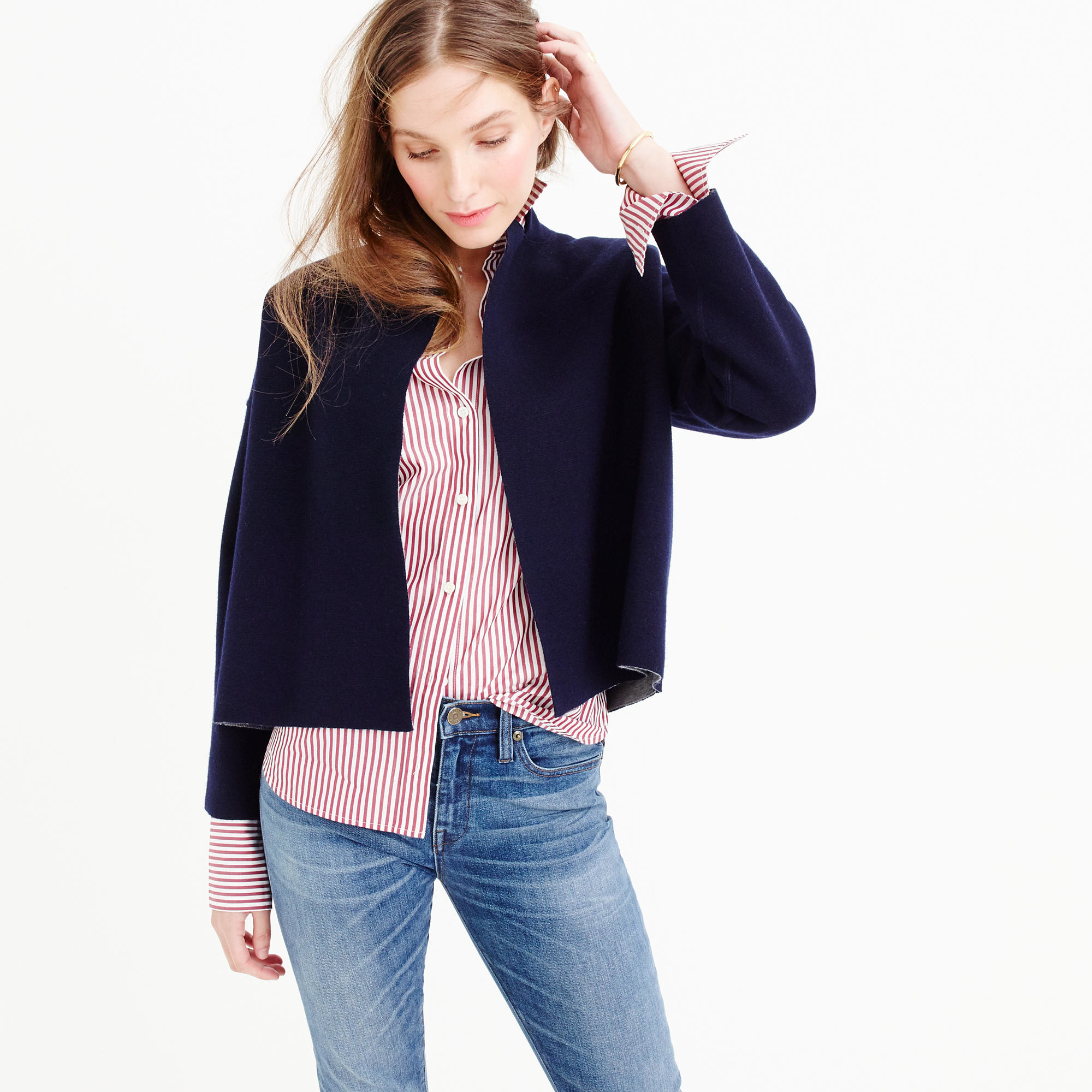 Jcrew Reversible Sweater-Jacket In Blue - Lyst-7557