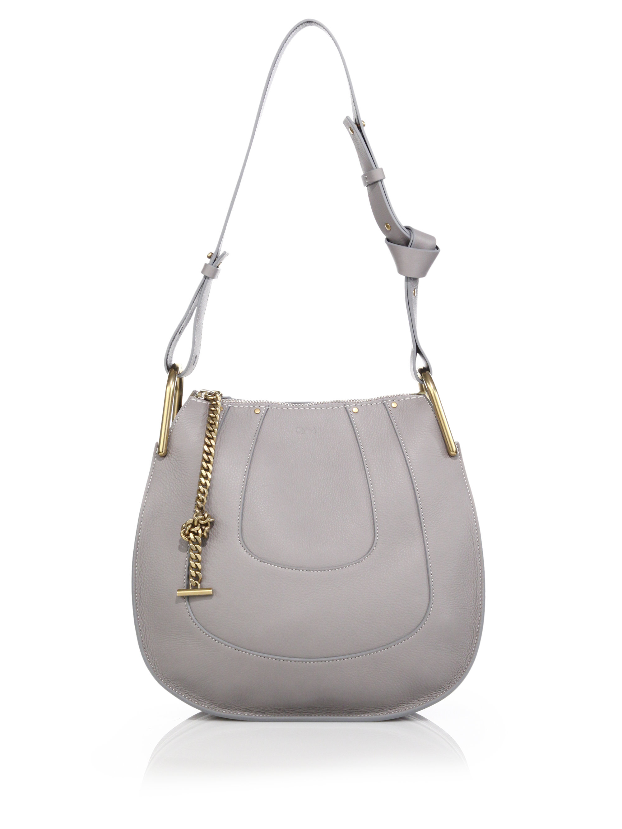 Chlo�� Hayley Small Leather Hobo Bag in Gray (cashmere grey) | Lyst