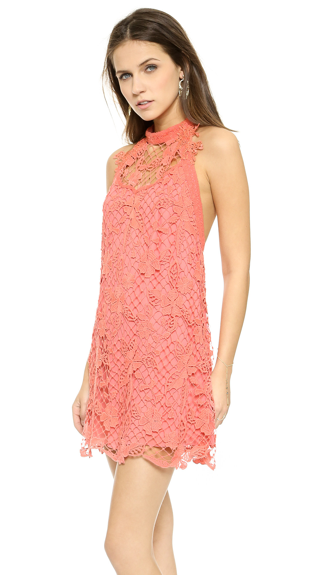 Free people Snowdrop Lace Trapeze Dress - Softshell Combo in Pink ...