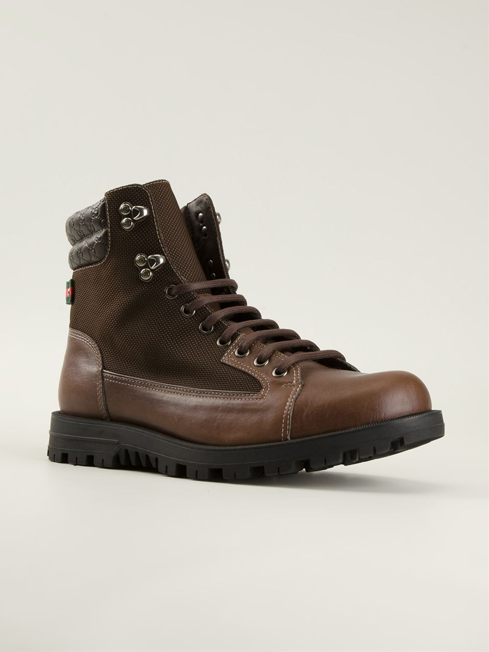 gucci style boots in brown for lyst