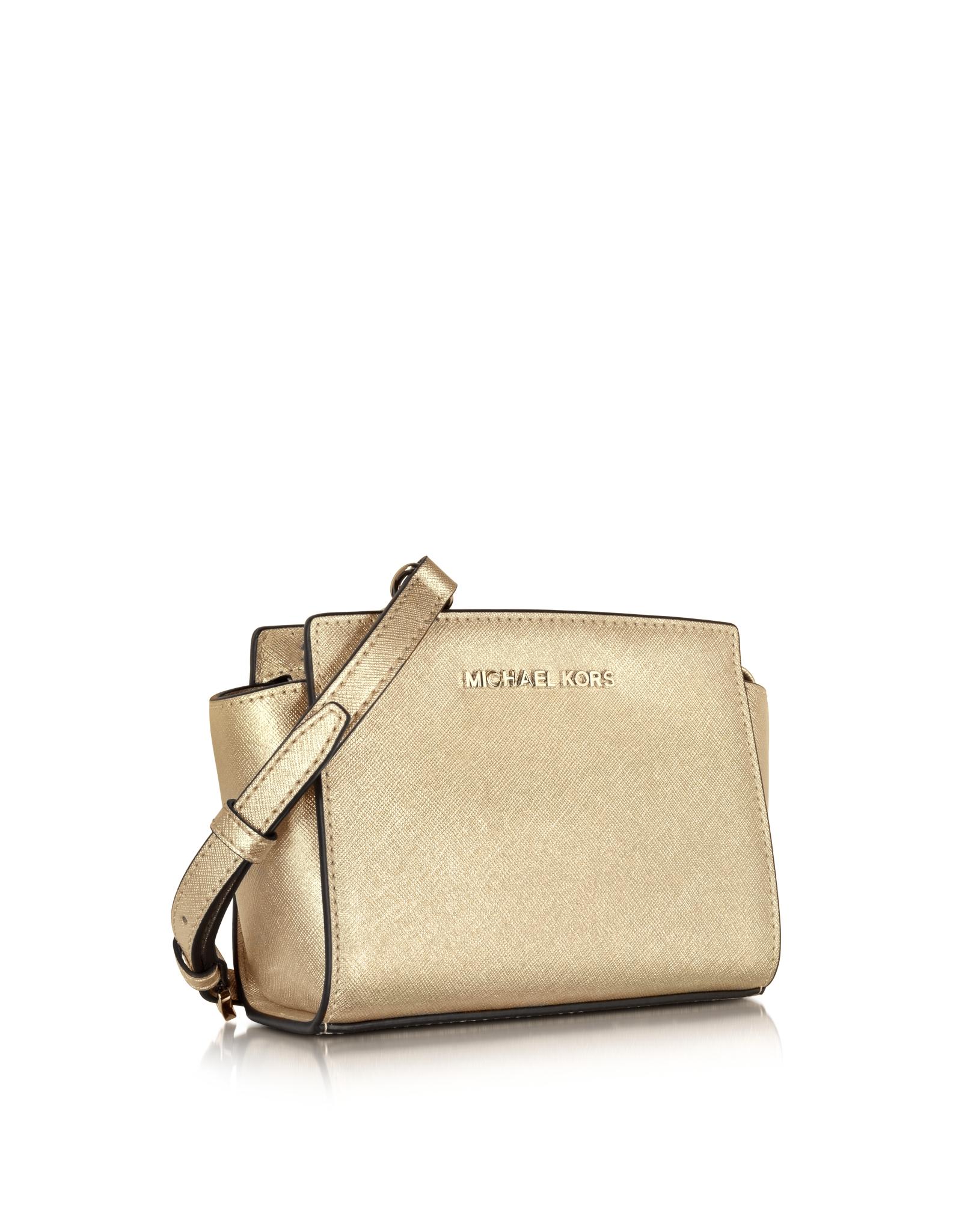 2c720c0e6fcd ... promo code lyst michael kors pale gold metallic saffiano leather selma  mini messenger bag in metallic