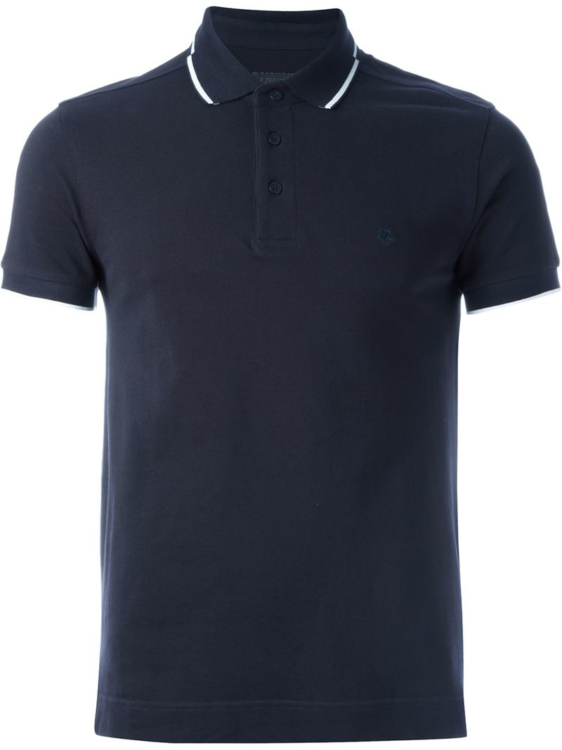 Z zegna piped polo shirt in blue for men lyst for Zegna polo shirts sale