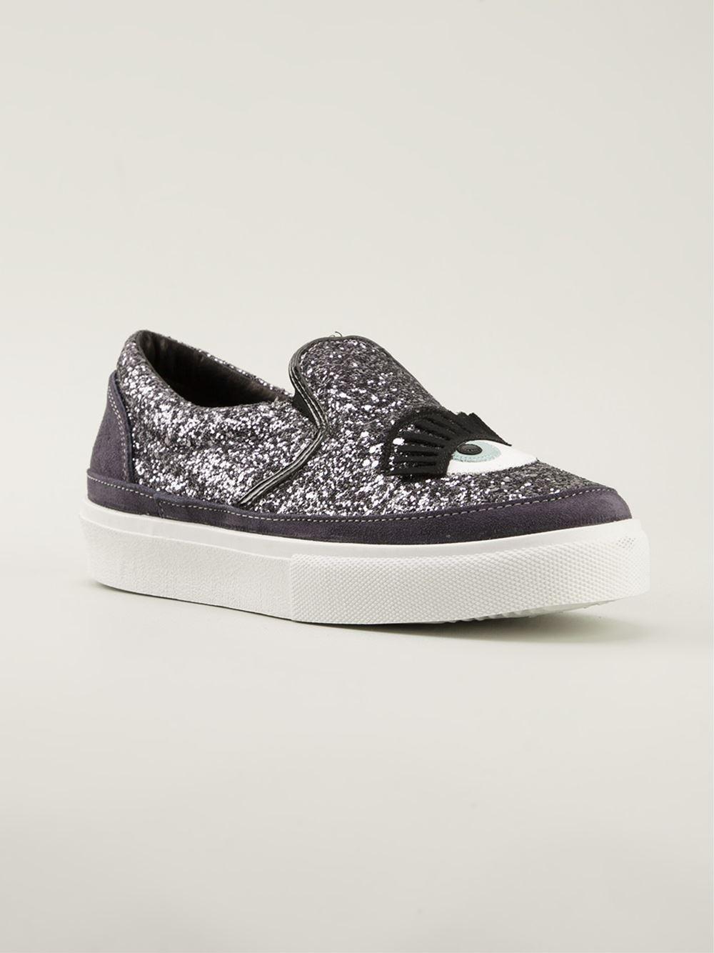 Chiara Ferragni Blinking Eye Sneakers in Pink & Purple (Purple)