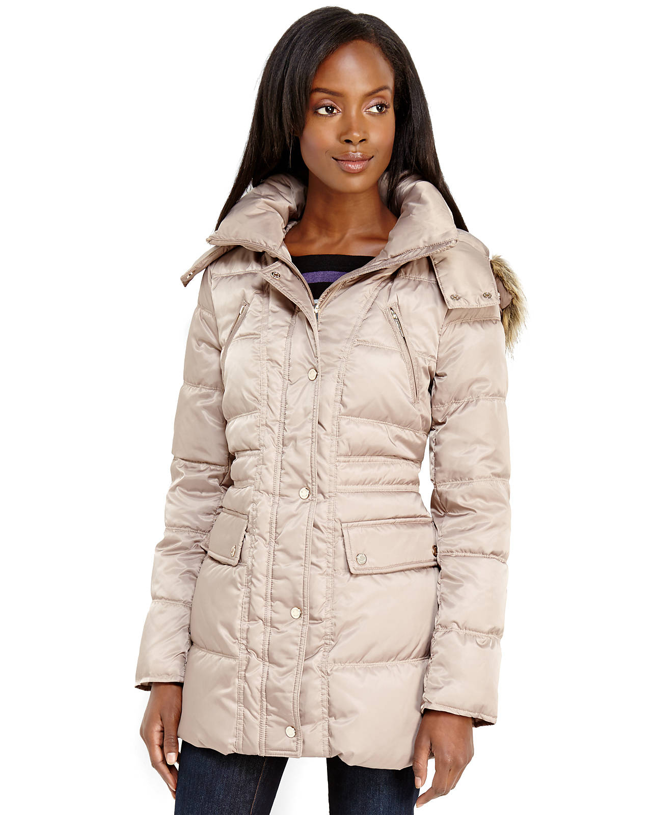 d43b2c951d Lyst - Kenneth Cole Faux Fur Trim Hooded Puffer Coat in Natural