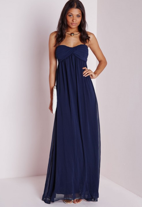 Missguided Gathered Chiffon Maxi Dress Navy In Blue Lyst