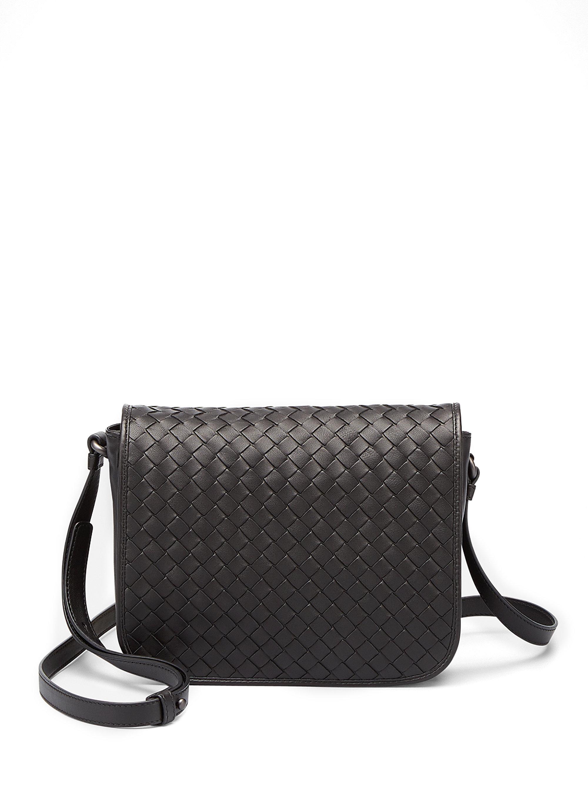 15571b772dc2c Lyst - Bottega Veneta Small Woven Flap Shoulder Bag in Black