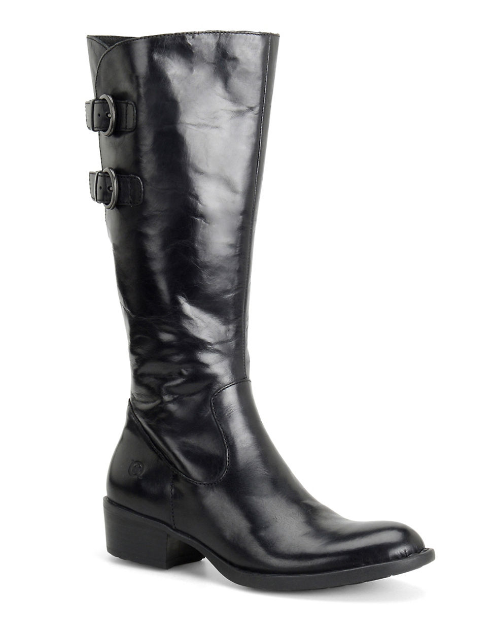 born berry leather boots in black lyst