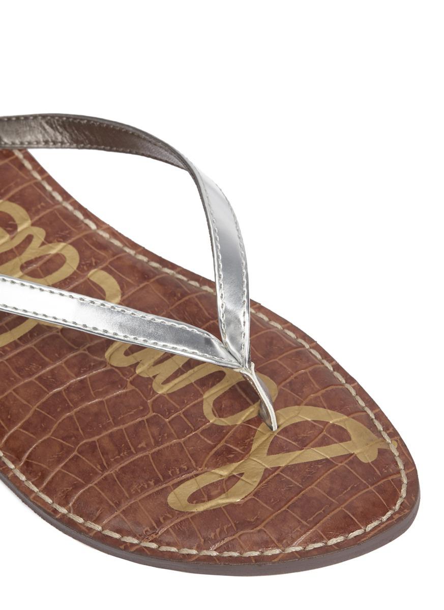 69c2c0aac395d9 Lyst - Sam Edelman Gracie Metallic Leather Flip-flops in Metallic