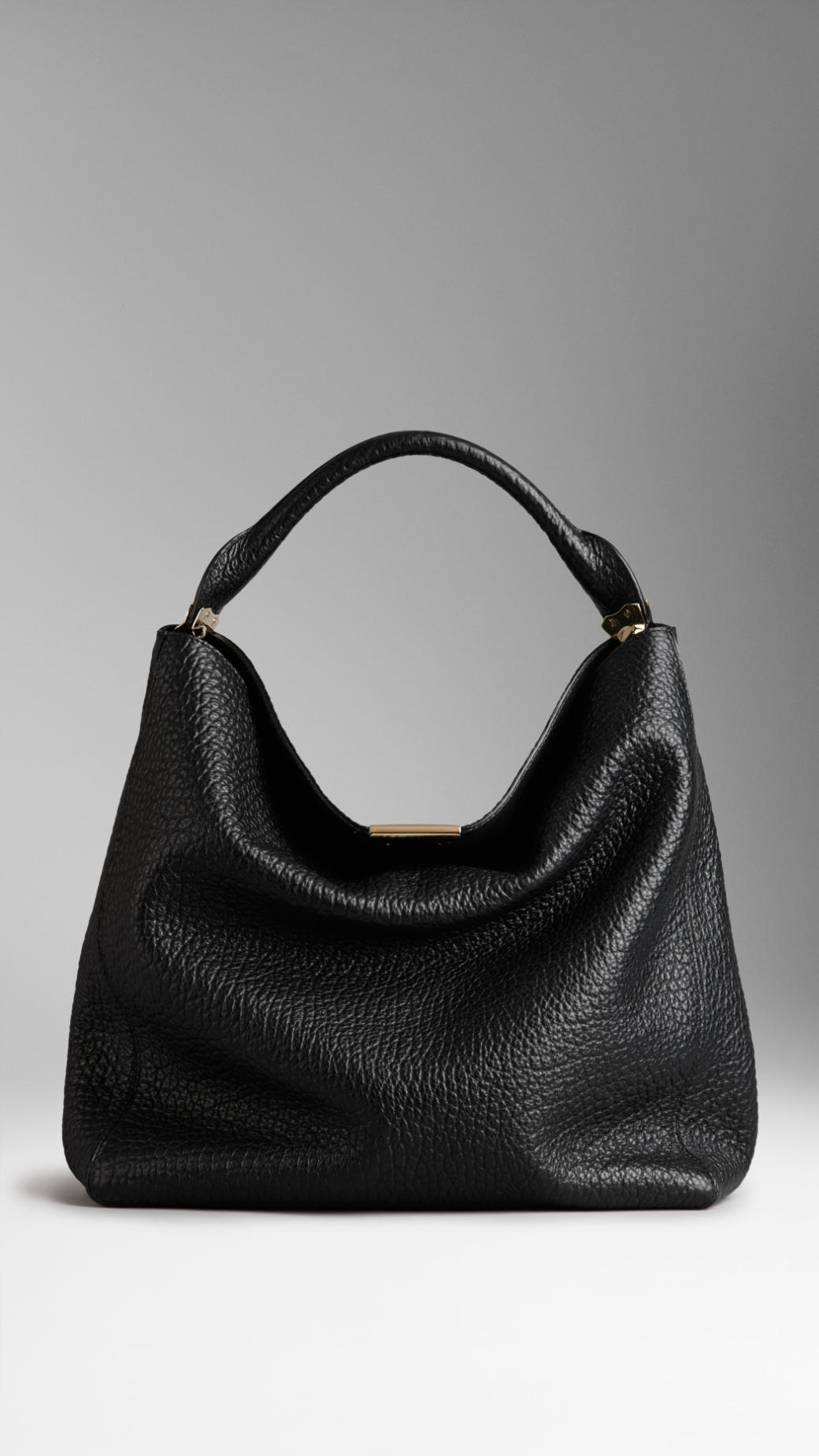 0700b7229319 Lyst - Burberry Medium Signature Grain Leather Hobo Bag in Black