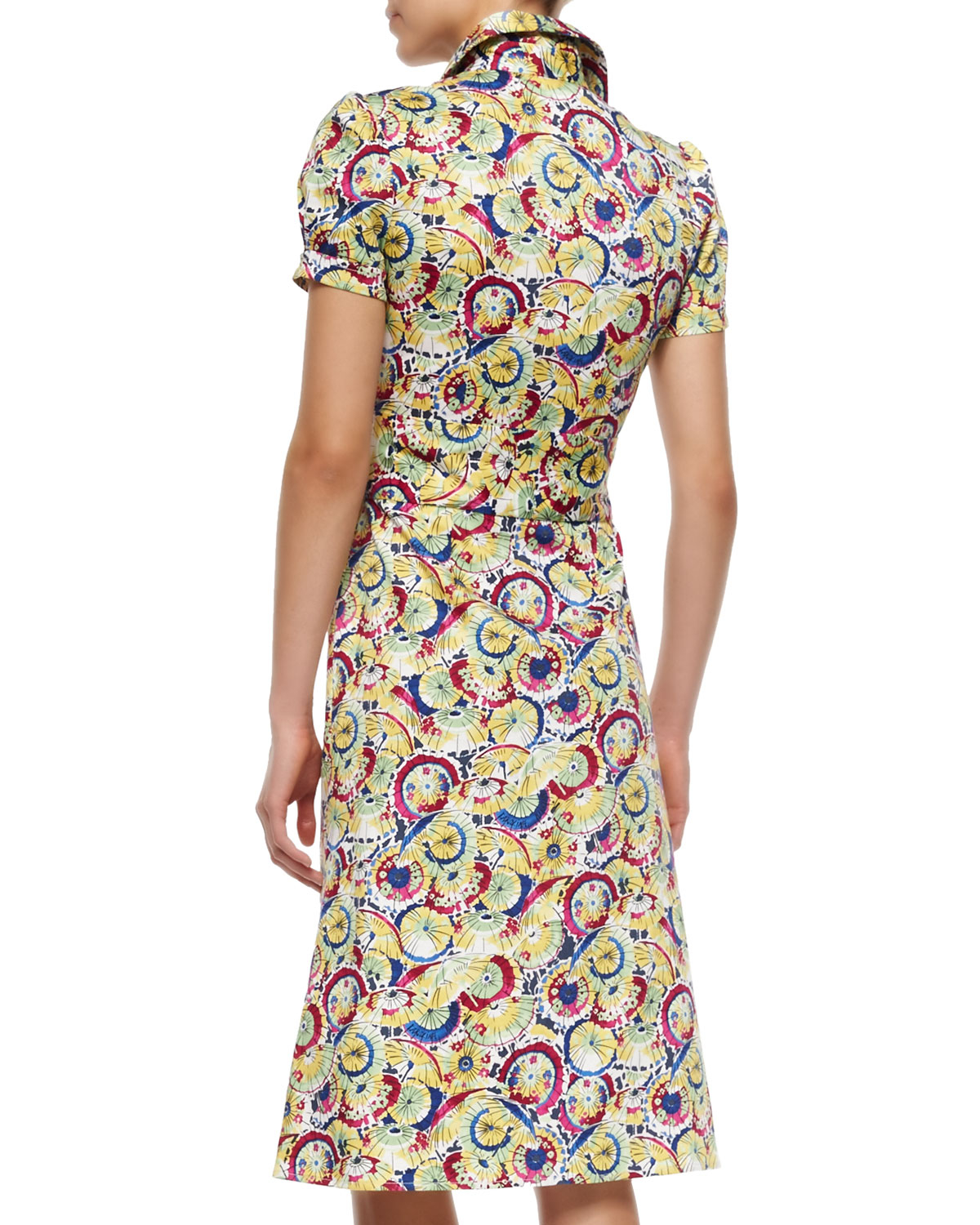 Carolina herrera belted stretch cotton shirt dress in for How to stretch a dress shirt