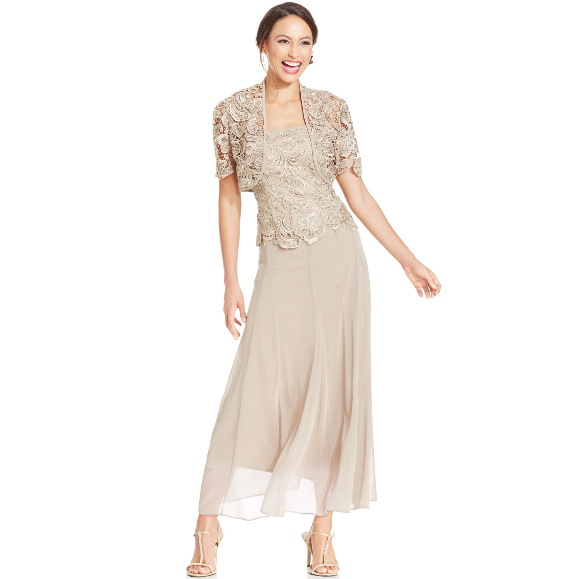Alex evenings lace chiffon dress and jacket in beige for Cocktail dress with jacket for wedding