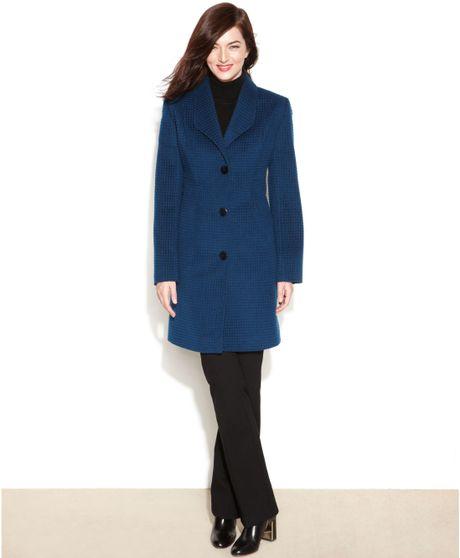 Jones New York Checked Textured Walker Coat in Blue (Peacock)