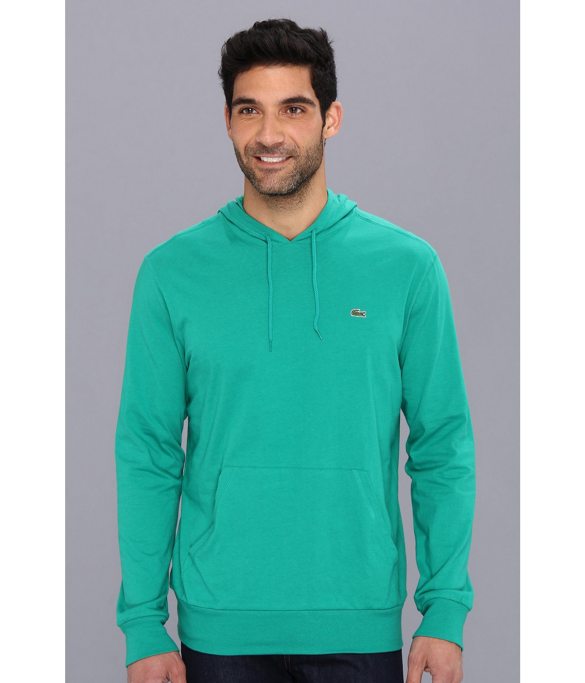 lacoste jersey tshirt hoodie in green for men lyst