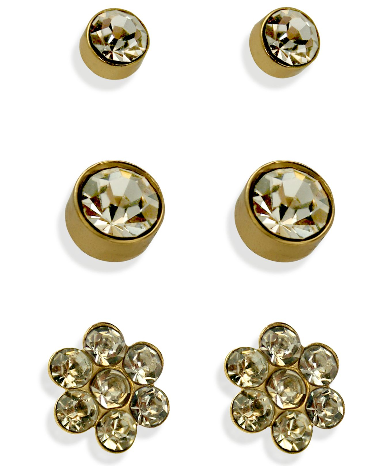 guess gold tone stud earring set in metallic lyst