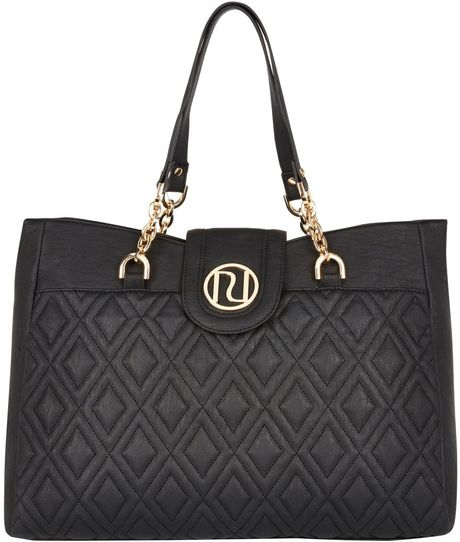 River Island Black Quilted Chain Strap Tote Bag In