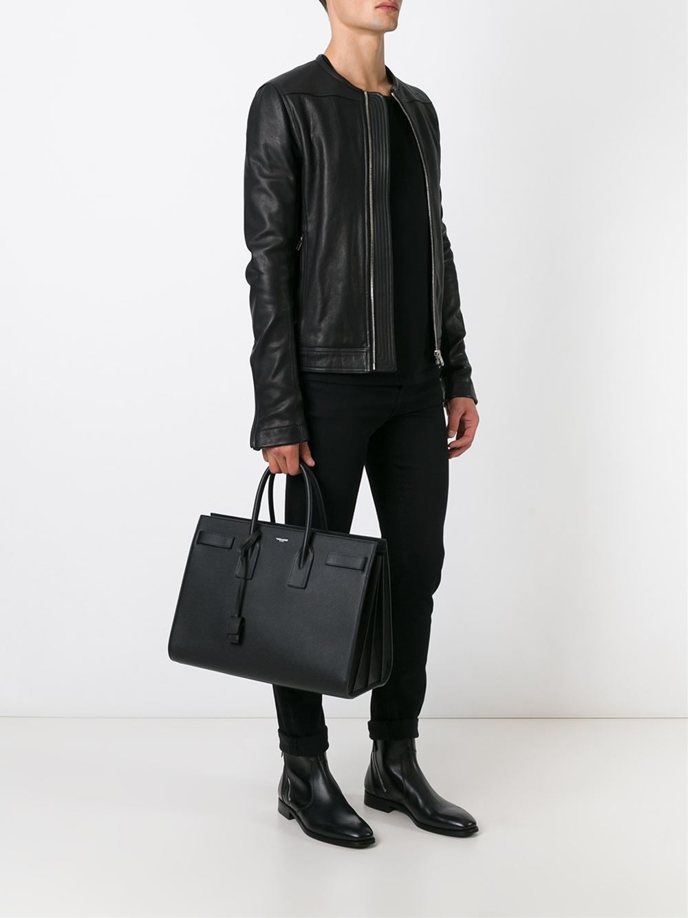 Saint Laurent Sac De Jour Tote In Black For Men Lyst