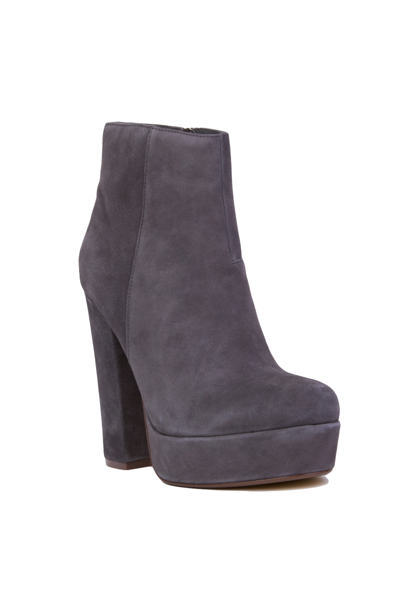 Steve Madden Suede Joanie Platform Ankle Boots in Grey Suede (Grey)