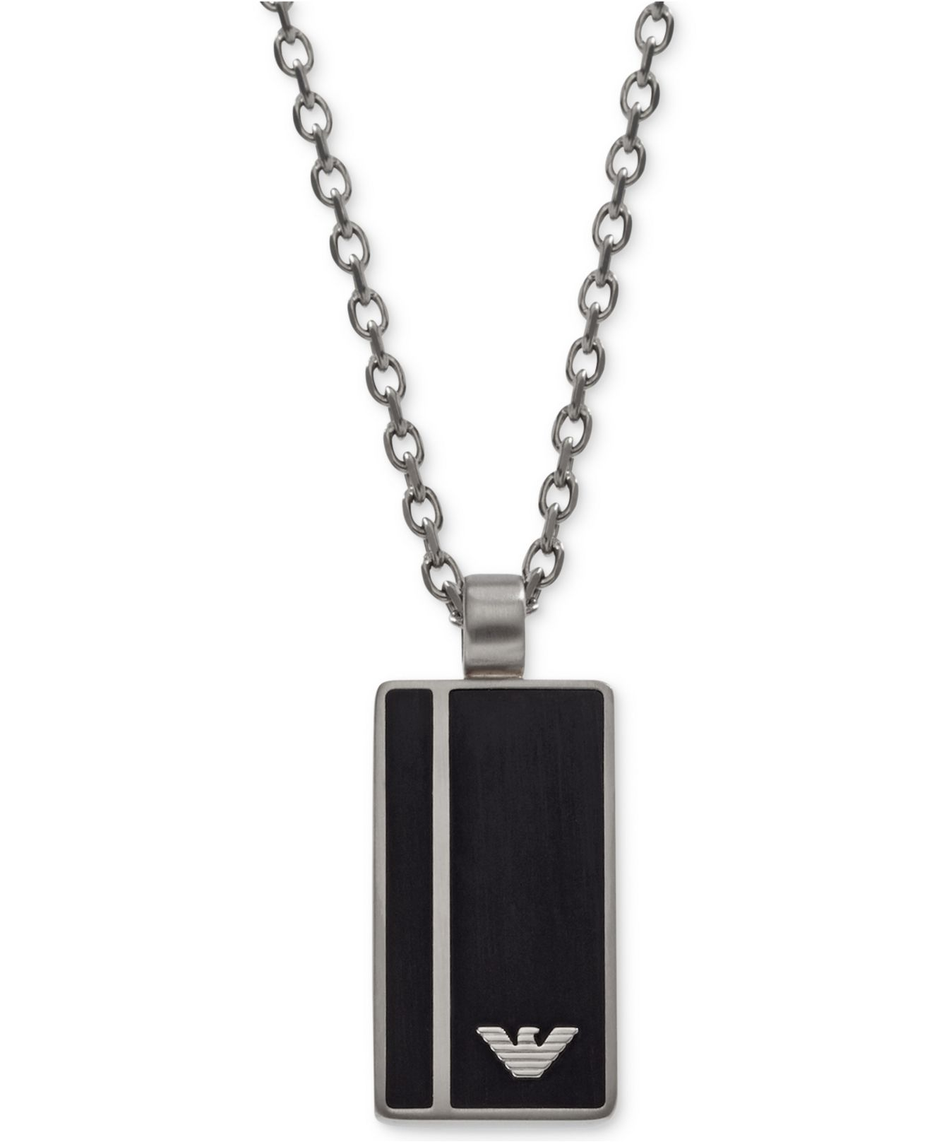emporio armani men 39 s stainless steel black dog tag. Black Bedroom Furniture Sets. Home Design Ideas