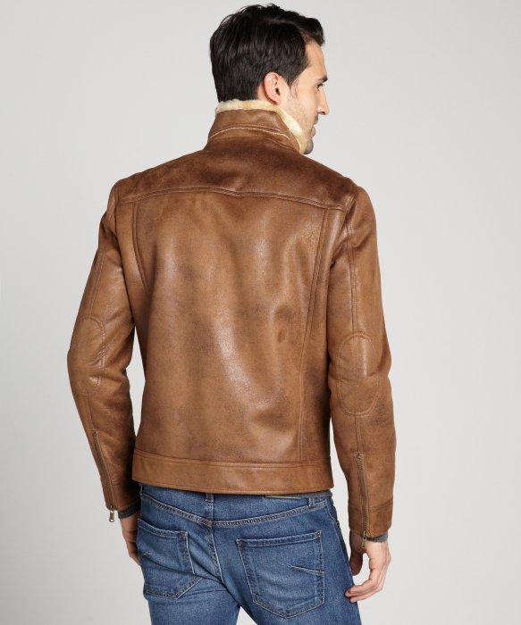 Lyst Calvin Klein Cognac Faux Shearling Faux Leather Zip