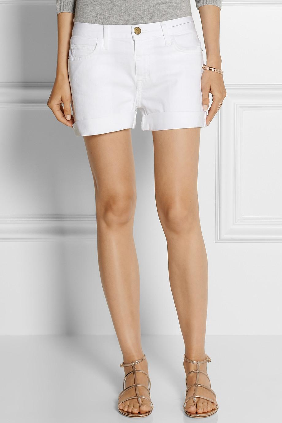 Current/elliott The Boyfriend Low-Rise Stretch-Denim Shorts in ...