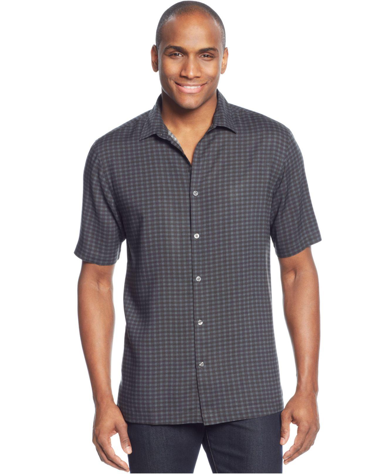 alfani sleeve grid shirt in gray for lyst