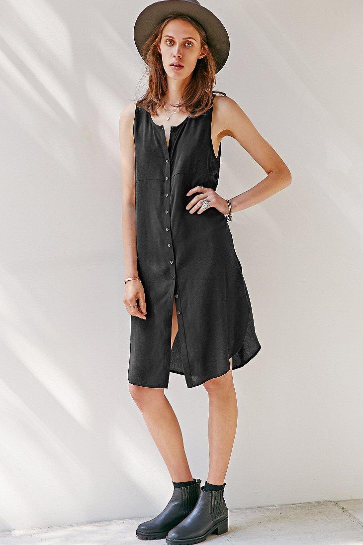 Sparkle Amp Fade Button Front Sleeveless Midi Dress In Black
