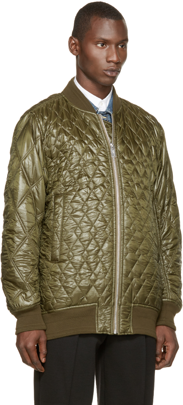 Miharayasuhiro Green Quilted Bomber Jacket in Green for Men | Lyst