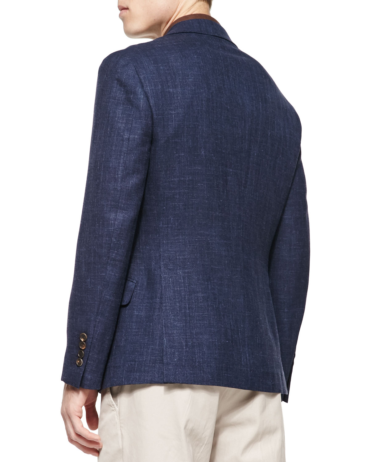 Brunello cucinelli fine pique polo shirt in brown for men for Polo shirt with sport coat