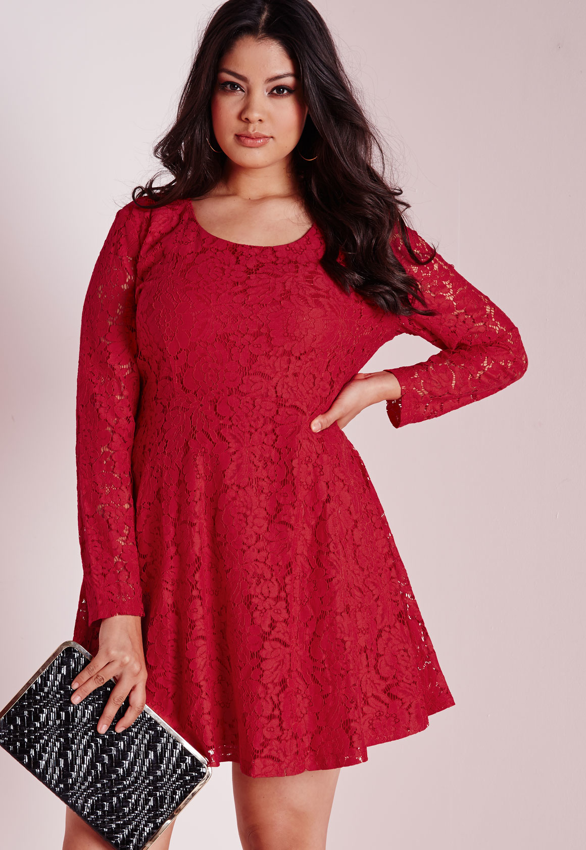Lyst - Missguided Plus Size Lace Skater Dress Red in Red