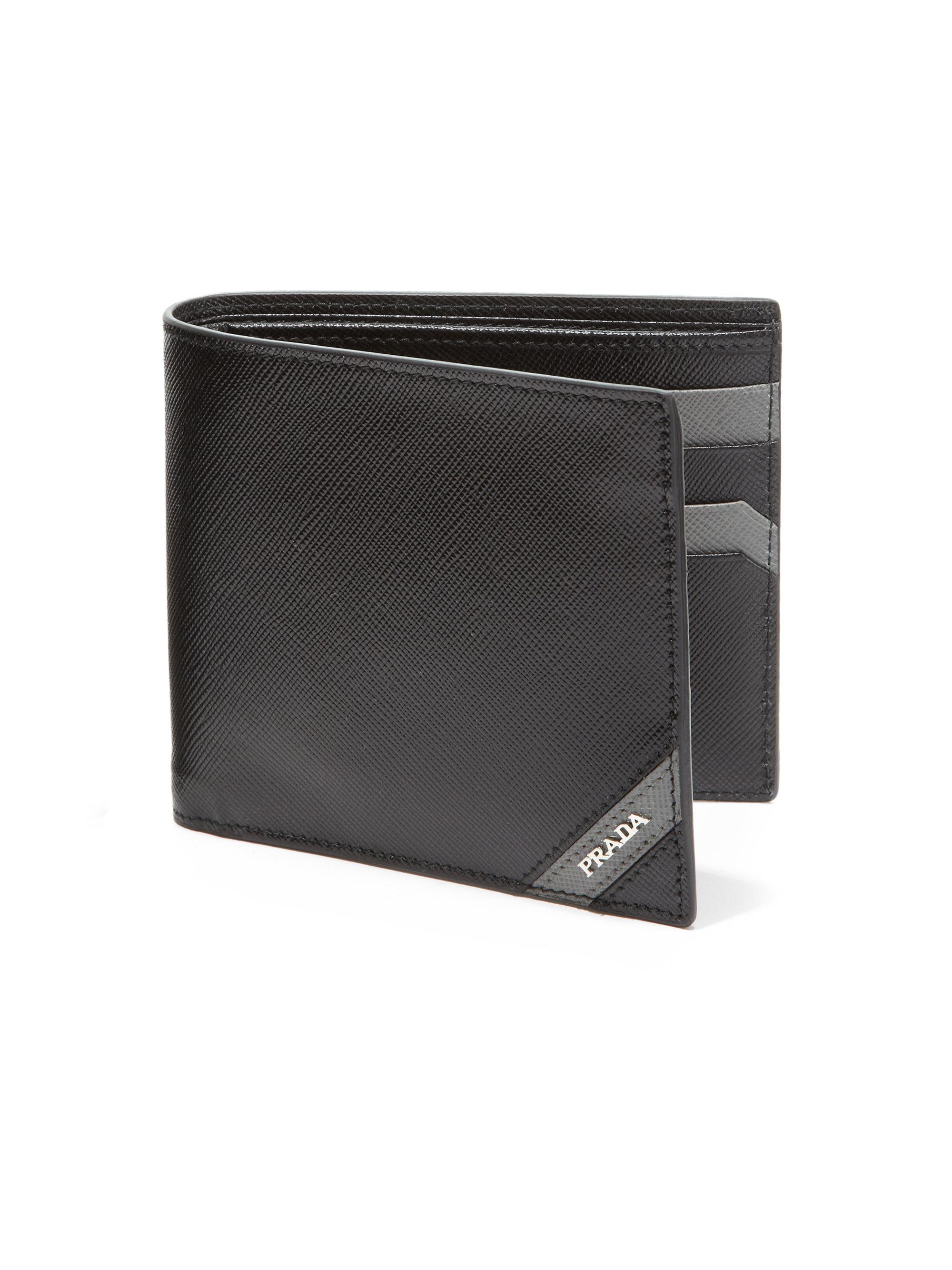 eabb5626 Prada Black Saffiano Corner Bifold Wallet for men