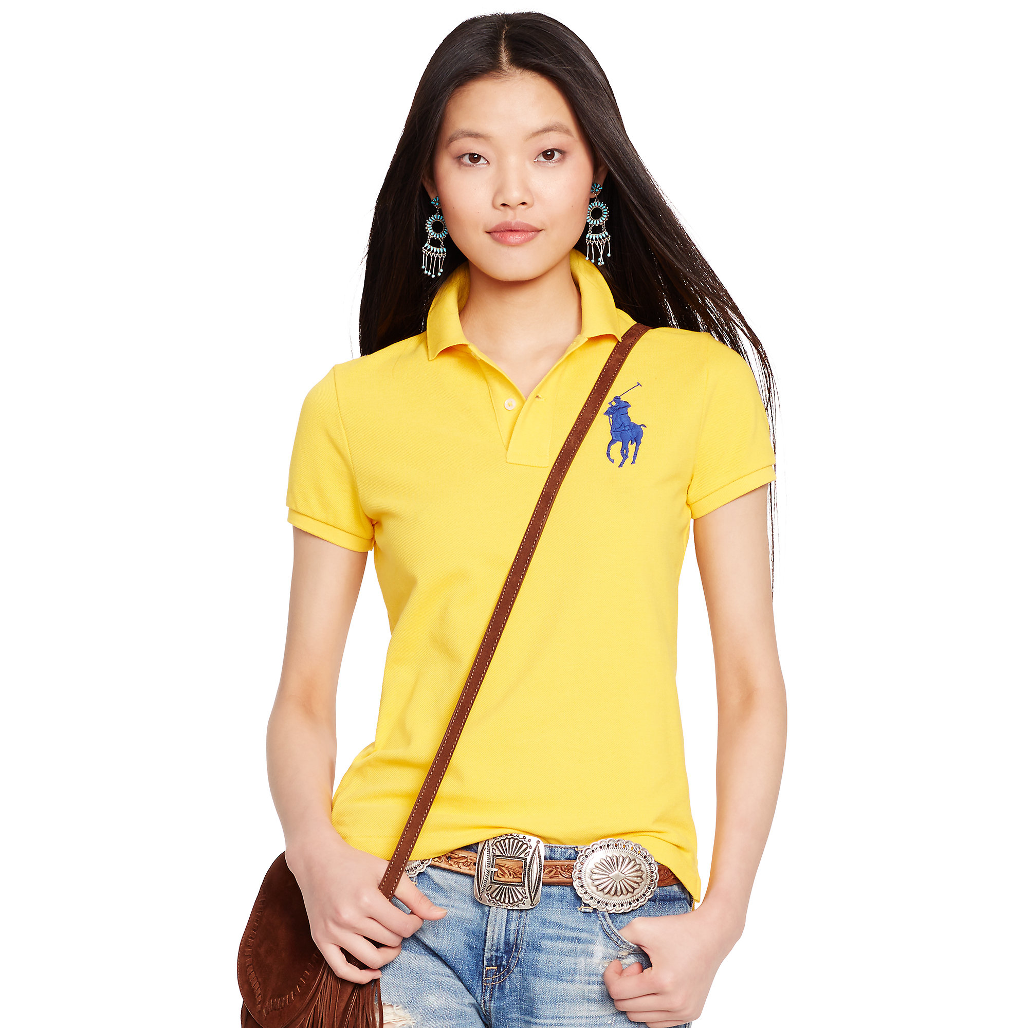ca2227f4227423 Lyst - Polo Ralph Lauren Skinny-fit Big Pony Polo Shirt in Yellow