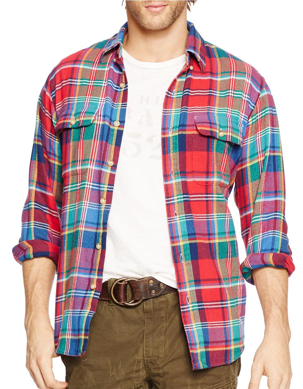 Polo ralph lauren plaid button down shirt in red for men for Polo ralph lauren casual button down shirts