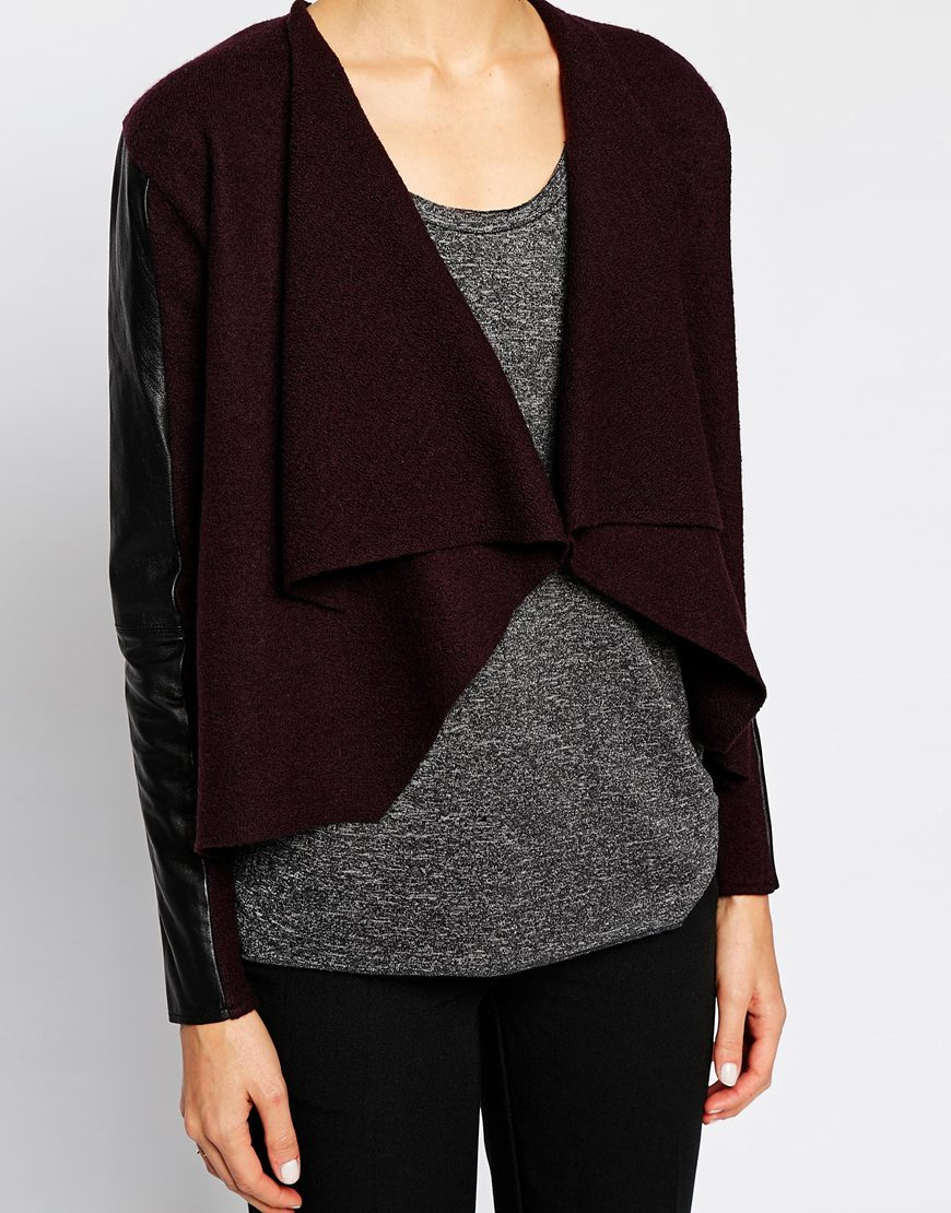 Ted baker Waterfall Cardigan With Leather Panels in Purple | Lyst