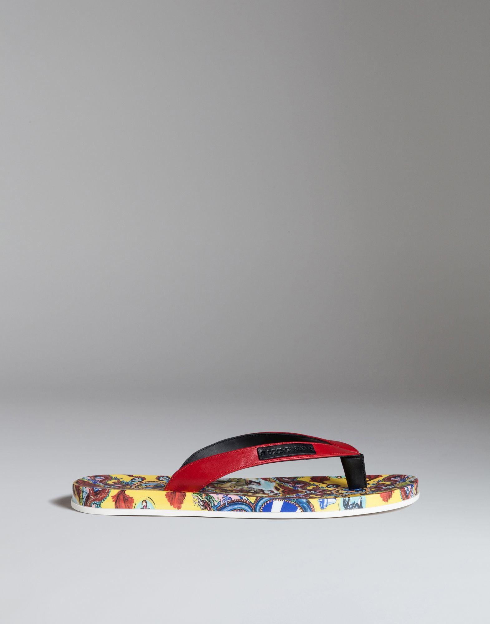 1fd84707dfa7f7 Lyst - Dolce   Gabbana Thong Sandal In Printed Napa Calfskin in Yellow