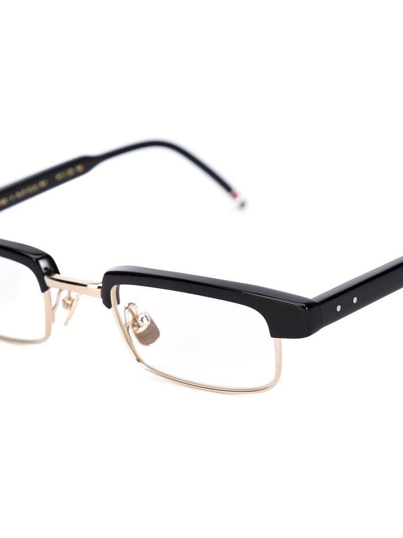 Black Half Frame Glasses : Thom browne Half Frame Glasses in Black Lyst
