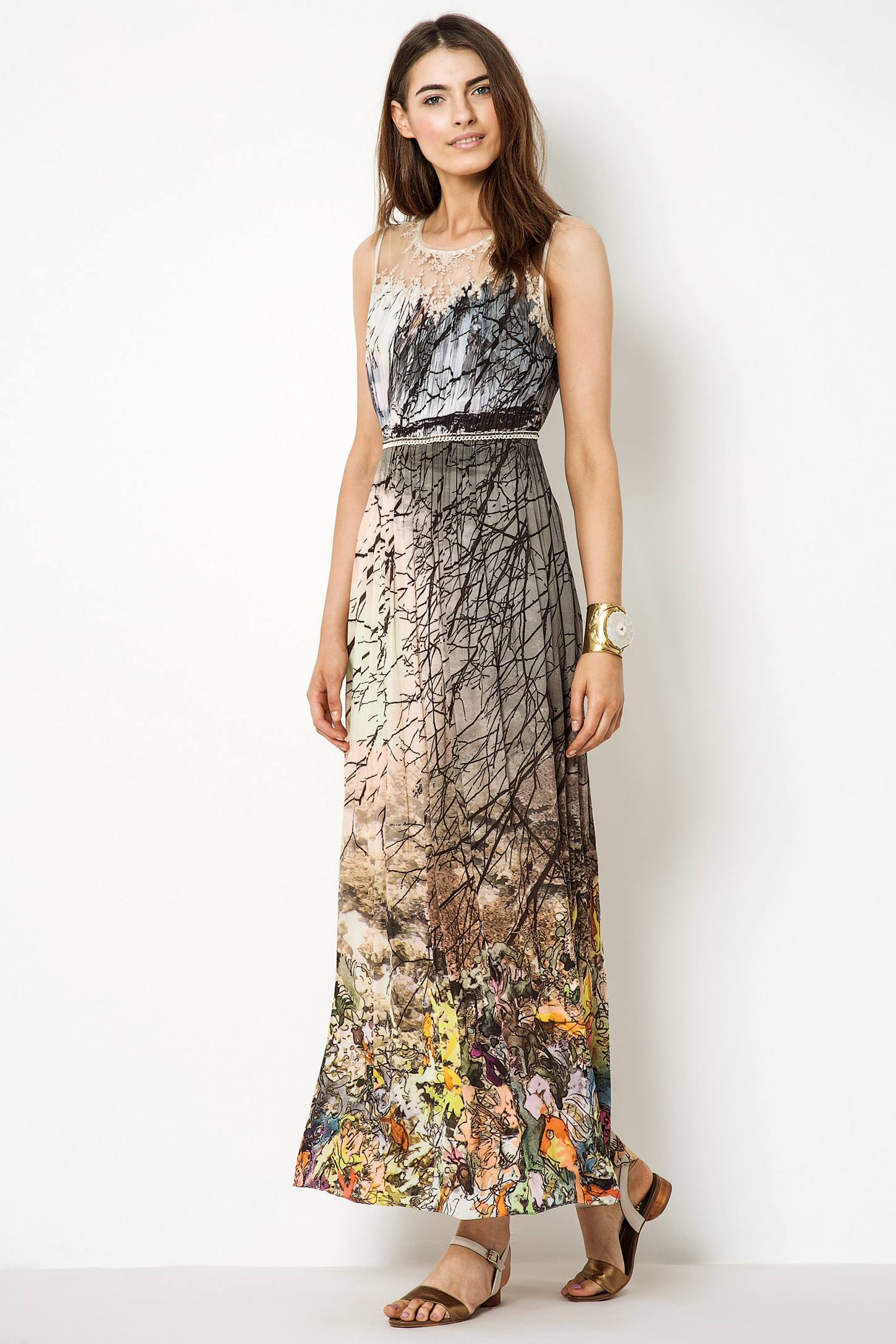 Anthropologie coppice flutter maxi dress in beige neutral for Anthropologie mural maxi dress