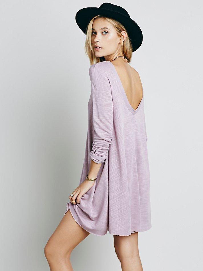 Free people Long Sleeve Swing Dress in Purple | Lyst