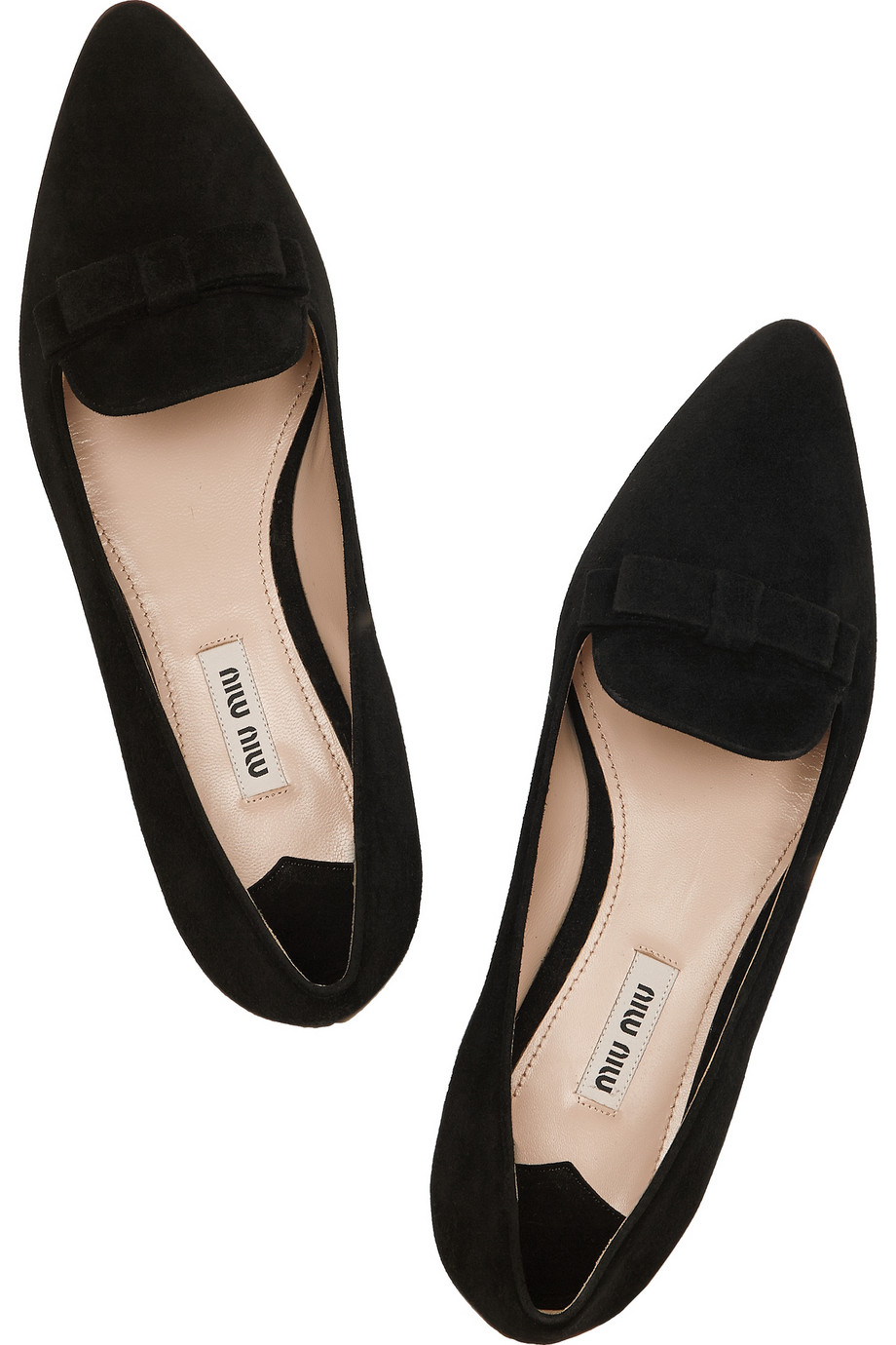 Lyst - Miu Miu Crystal-Embellished Suede Point-Toe Flats in Black f027fabc24