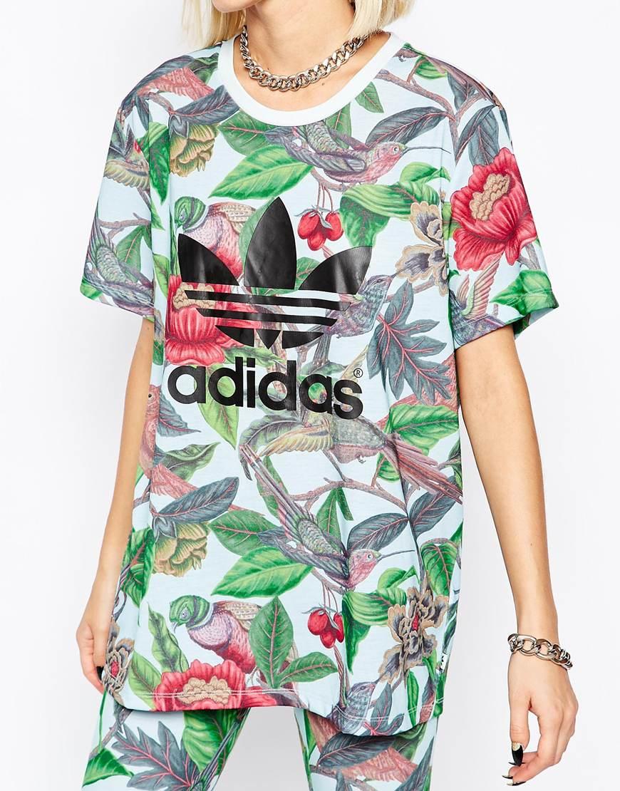 abe6559f adidas Originals Florera Leaf Print Trefoil Logo T-shirt - Lyst