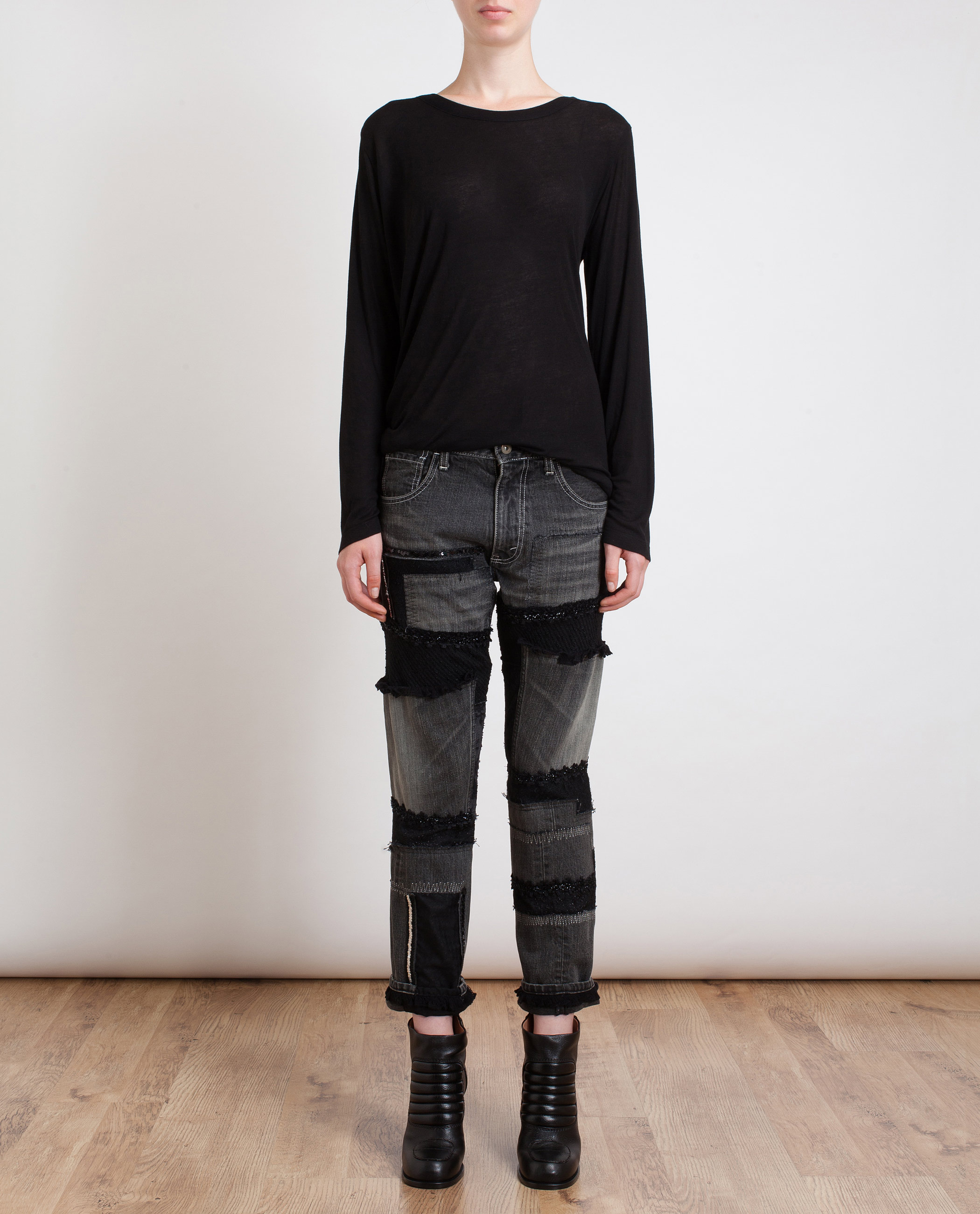 Junya Watanabe Multi Fabric Cropped Jeans in Black