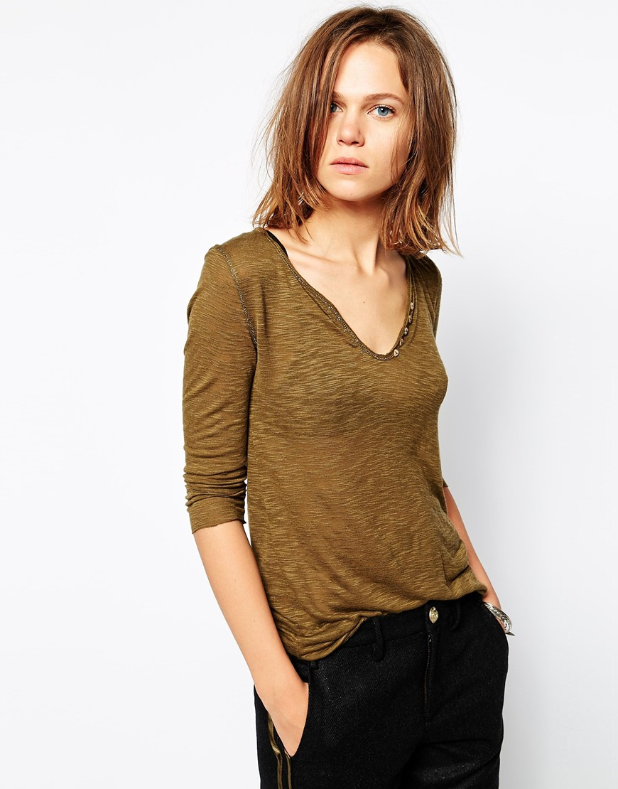 zadig voltaire zadig and voltaire t shirt with open henley neck in natural lyst. Black Bedroom Furniture Sets. Home Design Ideas