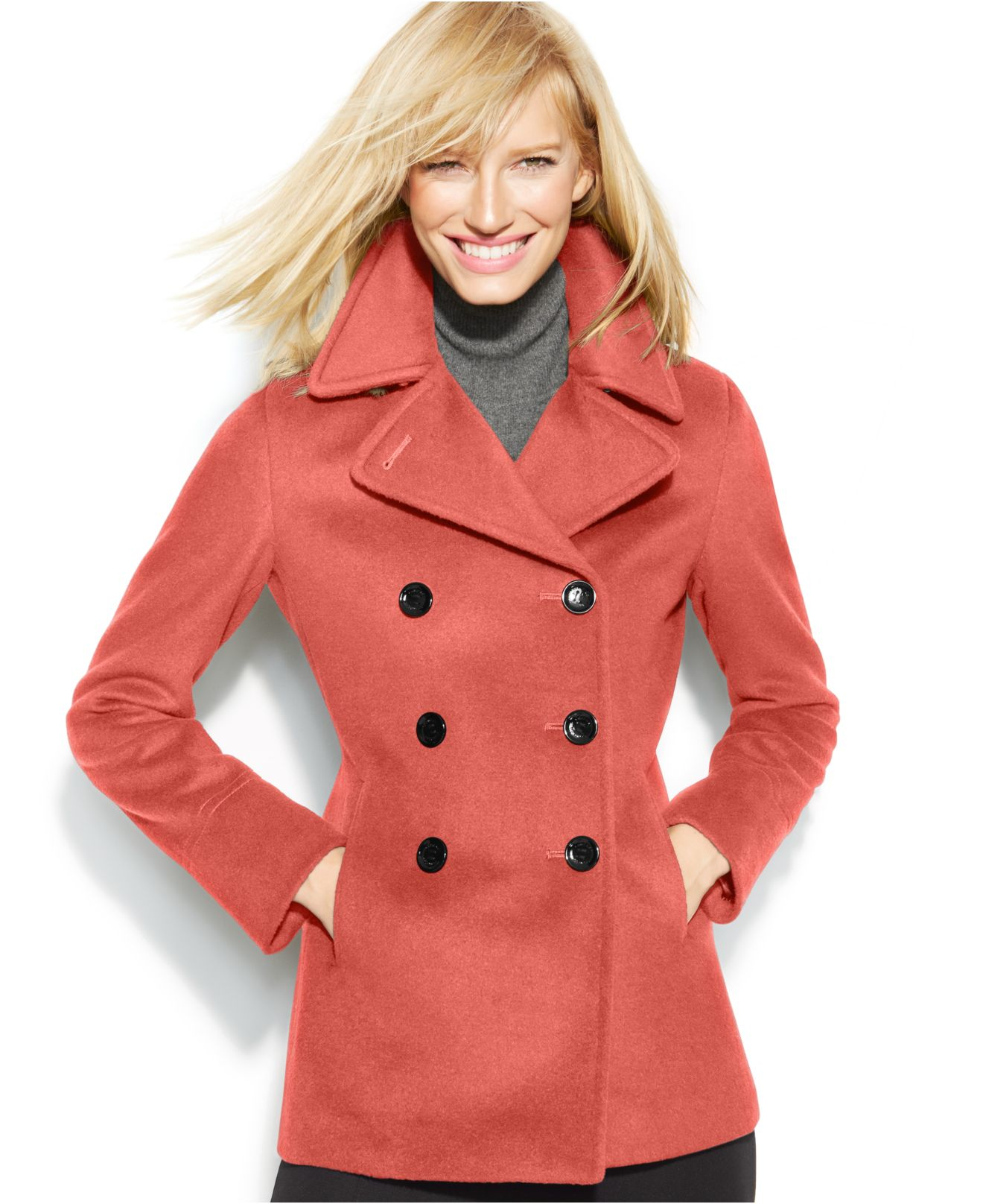 Calvin Klein Petite Wool Cashmere Blend Peacoat With Free