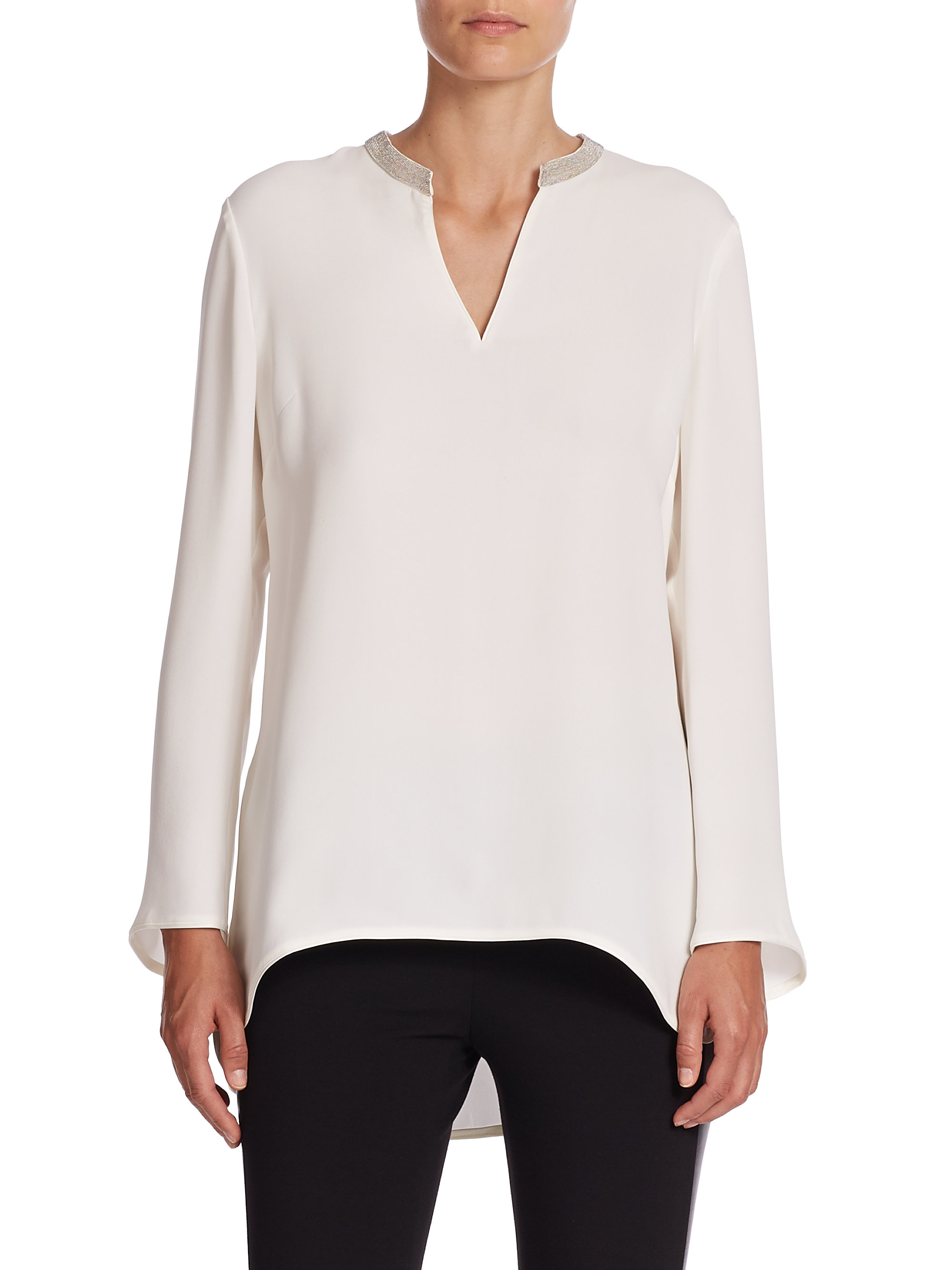 Buy Cheap With Paypal Lafayette 148 Embellished Silk Top Looking For Free Shipping 2018 Newest Sale Shop qA6Eif