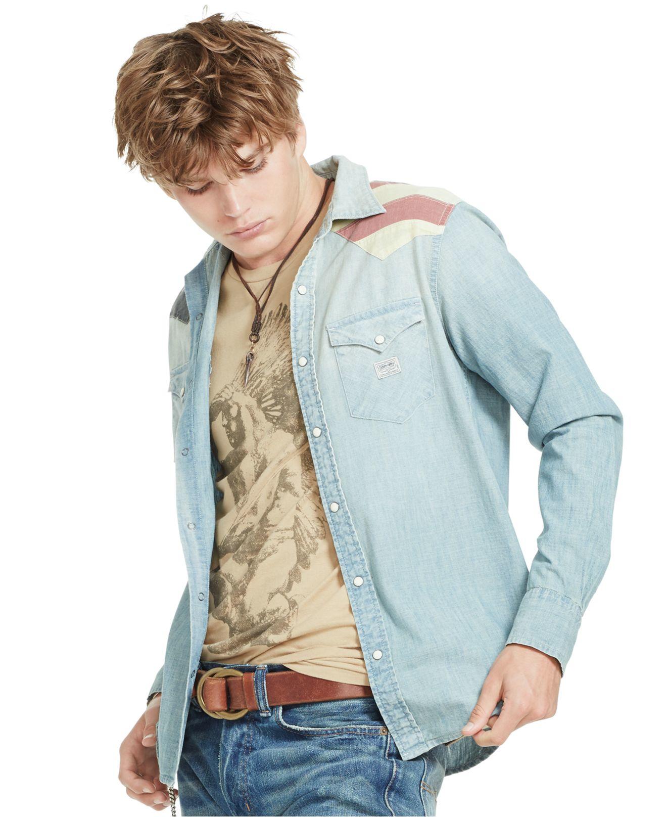 514b2b640d Gallery. Previously sold at  Macy s · Men s Chambray Shirts Men s Ralph  Lauren ...