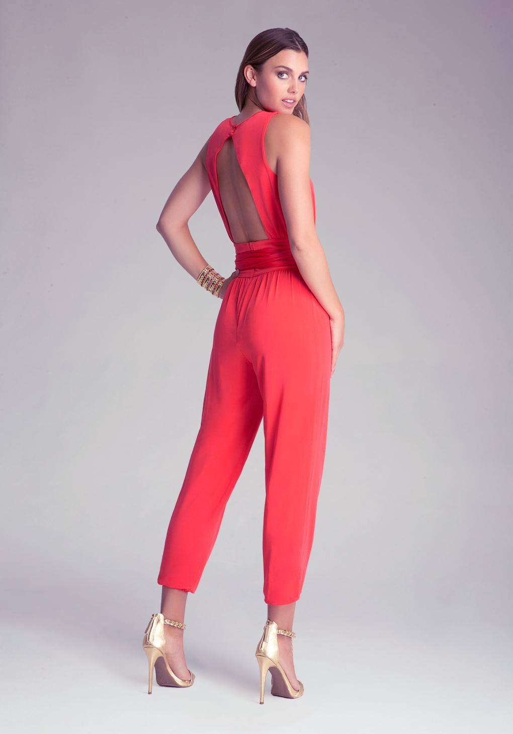 Bebe Petite Sash Jumpsuit in Red | Lyst