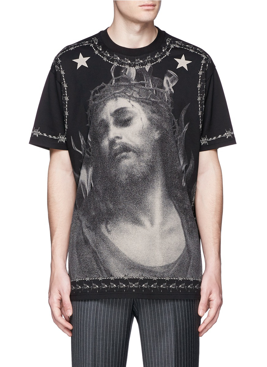 givenchy barb wire jesus print t shirt in black for men lyst. Black Bedroom Furniture Sets. Home Design Ideas