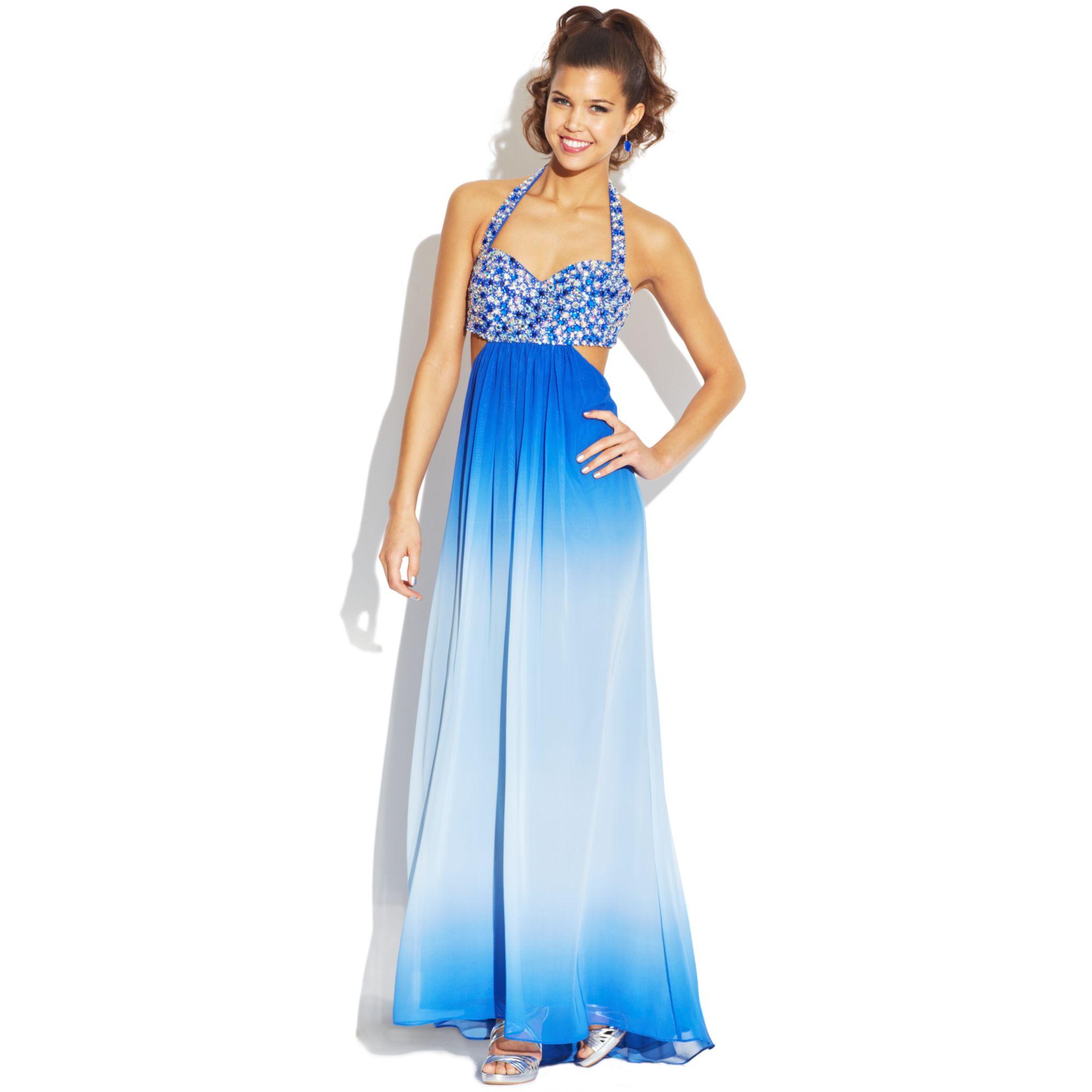 Jump Juniors Ombreprint Halter Dress in Blue   Lyst