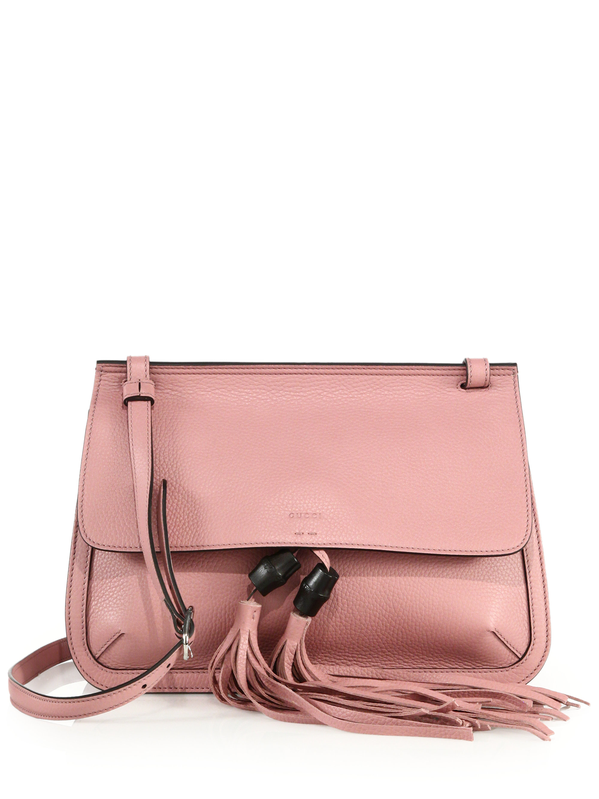 Gucci Bamboo Daily Leather Shoulder Bag in Pink | Lyst